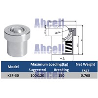 KSF-30 30mm base mounting carbon steel 100/150kgs ball bearing with 120kgf Spring Loading Capacity KSF30 Ball Transfer Units