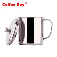 Tumbler milk coffee mug with lid and handgrip 304 stainless steel Brief Creative cups and mugs metal tea cup