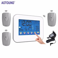 AOTOUIND Healthy Environmental Monitor Touch Screen Wireless Weather Station with Indoor Outdoor Temperature Humidity Clock
