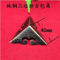 40MM Copper corners  Chinese antique furniture corners  Wooden decorative corner  Protection angle  wrap angle Wholesale