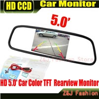 "Factory Selling HD Monitor 5"" Color TFT LCD Car Rearview Mirror Monitor 5 inch 16:9 screen DC 12V Car Monitor for DVD Camera VCR"
