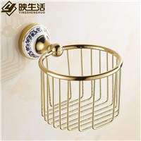 Fashion tissue basket gold toilet paper basket copper gold plated bathroom tissue box blue and white porcelain toilet paper box