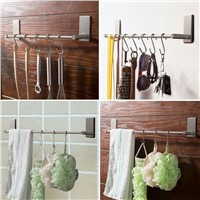 Bathroom Towel Rack 40cm Brief Stainless Steel Towel Holder Single Towel Bars Adhesive Tape Brush Bathroom Set Free 5pcs Hooks