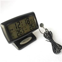 Digital Thermometer Car Alarm Clock With Dual Sensors Show Indoor And Outdoor In Same Time with sleep function