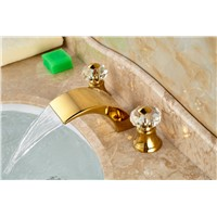Golden Brass Roman Waterfall Bathroom Basin Faucet Crystal Handles Vanity Sink Mixer Tap Hot And Cold Mixer