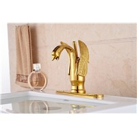 Luxury Bathroom Hot and Cold Basin Mixer Faucet Gold plated Swan Washbasin Faucet + 3 Hole Cover Plate