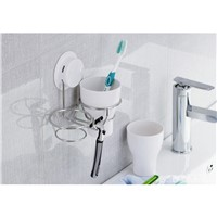 Bathroom Cup Holder Suction Cup Bathroom Toothbrush Cup Holder with Two Cups Bathroom Accessories 260048