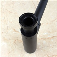 Luxury Stoving Varnish Black Brass Round Bottle P-Trap for  Bathroom Bain Sink  Tap Waste Drain 11-222