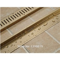 Hot Sale Rectangle Bathroom Floor Standing Ti-gold Plate 90*10cm Bath Shower Strainer Drainer Newly