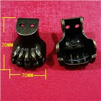 20mm*20mm Metal Tiger Claw Small Corner Vintage Wooden box support legs Furniture four corners decorative feet