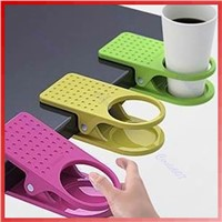 F85  Wholesale 3pcs/lot Drink Cup Coffee Holder Clip Desk Table Home Office Use