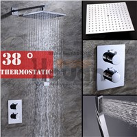 High standard quality bathroom wall mounted auto thermostat control shower 10 inch air pressurize shower head