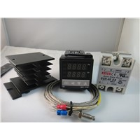 100-240VAC PID Temperature controller + Max.40A SSR+ heat sink + 2M thermocouple K probe