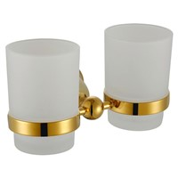 Double Tumbler Holders Luxury Golden Jade Base Bathroom Toothbrush and Toothpaste Shelves with 304 Stainless Steel and Copper