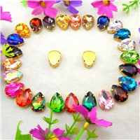 [A1-A17]  Gold claw 7 Sizes Colors mix teardrop waterdrop water drop Droplet glass crystal Sew on rhinestone clothes diy trim
