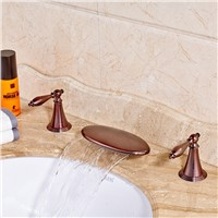 Contemporary Round Waterfall Spout Oil Rubbed Bronze Red Sink Bathroom Faucet Mixer Tap Dual Handles