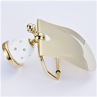 Europe Antique Gold Toilet Paper Holder Stone With Diamond Tissue Holder Roll Holder solid Brass Bathroom Accessories Products