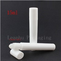 15ml white roller on bottles perfume roll on plastic container liquid lotion metal ball cosmetic container for essential oil