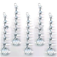 20 Chains Clear Crystal Beads Chains+Glass Hanging Prism Ball For Wedding Home Christmas Tree Decoration
