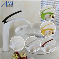 Antique Brushed Newly Colorful Painted Basin Faucets Hot&Cold Mixer Bathroom Basin Tap Brass Gold/Chrome/White/Red Faucet Crane