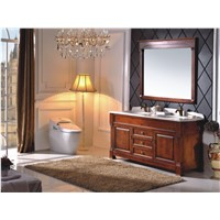 Wooden Classic Bathroom Cabinet Carved Design With Marble Countertop B6007