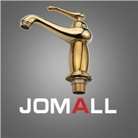 Bathroom Sink Basin Faucet Gold Polished Single Handle Solid Brass Mixer Tap High Quality