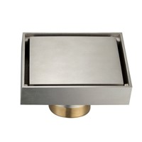 Brushed Nickel Bathroom Soild brass 4x4 inches Square Shower Floor Drain,Ceramic tile insert Invisible Style