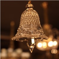 SOLFART  glass Small clear christmas bell crystal hanging drop Baccarat style chandelier glass crystal curtains