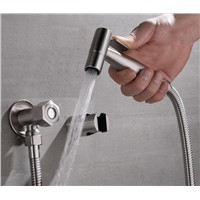 Free ship stainless steel Hand held bidet shattaf kit sprayer douche set with 1.5M hose Bracket New
