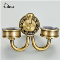 European Carved Gold Double Cup Toothbrush Holder Antique Cup & Tumbler Holders Brass Pvd Coating Bathroom Products