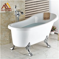 Chrome Finish Floor Standing Bath Tub Faucet Waterfall Spout Hot and Cold Bath & Shower Faucets