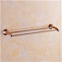 European Pink Crystal Double Towel Bar Brass Solid Double Railway Antique Polishing Towel Holder Bathroom Accessories Products
