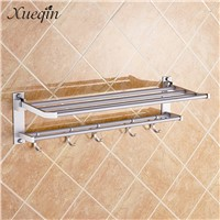 Xueqin Alumimum Foldable Bathroom Towel Rack Holder Storage Hanger Kitchen Hotel Towel Clothes Shelf With 5 Hooks
