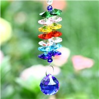 20mm dark Blue Glass Crystal Ball+14mm Octagonal beads Suncatcher Crystal Prisms strands for christmas tree hanging Decoration