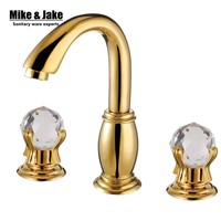 Luxury double crystal handle bathroom faucet Golden bathroom tap basin mixer double handle golden faucet mixer hot and cold tap