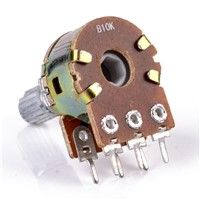 5pcs 6 Pin B10K Dual Stereo Potentiometer Pots Linear Taper Splined Shaft 16mm with Nuts And Washers
