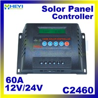 C2460-60 Solar Controllers 60A 12/24V solar controller pwm real-time LCD parameters adjustable unique anti-reverse protection