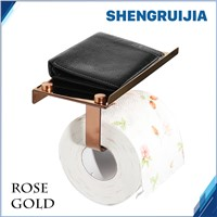 free ship rose gold  roll paper holer with Shelf Wall Mounted Roll Paper rack stainless steel toilet paper rack for cell phone