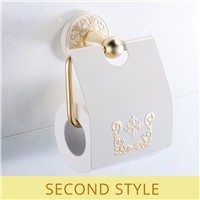 FLG Toilet Paper Roll Holder Wall Mount Space Aluminum Rack Toilet Paper Holder Gold With White Paper Holder Bathroom Accessorie