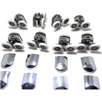 Replacement Shower Door Fixing Wheels in Chrome - 4x Top & 4x Bottom - Fits Glass 6-8mm