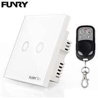 Funry ST1 2Gang UK Standard Smart Remote Control Switch 170V-240V RF433MHz Luxury Glass Panel Led Touch Switch Wall Light Switch