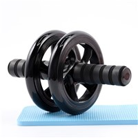 No Noise Gym Abdominal Wheel Ab Roller with Mat for Exercise Fitness Equipment Accessory Unisex Black Double Wheeled Belly