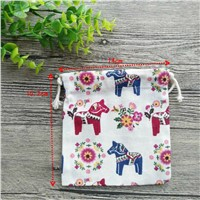 5Pcs/Lot Horse Pouch Jewelry Wedding Party Gift CottonLinen Bag Favor Holder with Cotton Drawstring Reusable Storage Decoration