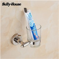 Sully House Stainless Steel Bathroom Single Cup&Tumbler Holders,Toothbrush Gargle Frosted&Transparent Glass Cup,Bath Accessory