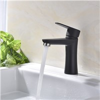 304 Stainless Steel Hot Cold Basin Faucet Brushed Bathroom Sink Faucets Paint Black/White Water Tap Single Hole 1 Handle Taps