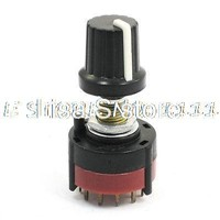 2P5T 2 Pole 5 Position Single Wafer Band Selector Rotary Switch w Knob