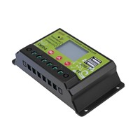 Home Industrial 12V 24V 10A 20A Dual USB Port Solar Charge Controller with LCD Display Solar Panel Charge Regulator