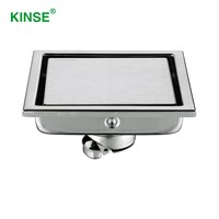 KINSE High Quality Stainless Steel Floor Hidden Shower Drain Square Commercial Floor Drains