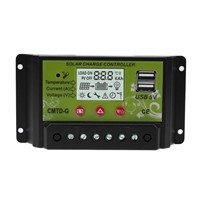 12/24V 10A 20A Dual USB Port Solar Charge Controller Solar Panel Battery Charge Regulator with LCD for  Home Industrial