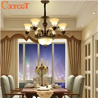 American Rural Vintage Retro Iron Chandelier Lighting for Living Room Bedroom Dining Room Pendant Lamp Mat Glass Lampshade